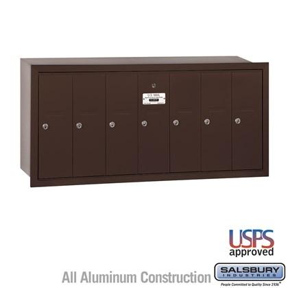 Vertical Mailbox - 7 Doors - Bronze - Recessed Mounted - USPS Access
