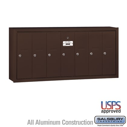 Vertical Mailbox - 7 Doors - Bronze - Surface Mounted - USPS Access