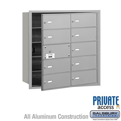 4B+ Horizontal Mailbox (Includes Master Commercial Lock) - 5 Door High Unit - 10 B Doors (9 usable) - Front Loading - Private Access