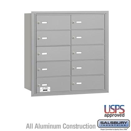 4B+ Horizontal Mailbox - 10 B Doors - Aluminum - Rear Loading - USPS Access