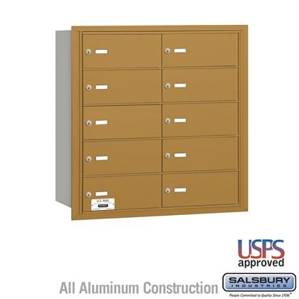 4B+ Horizontal Mailbox - 10 B Doors - Gold - Rear Loading - USPS Access