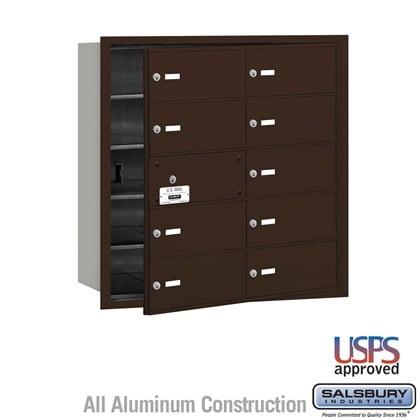 4B+ Horizontal Mailbox - 10 B Doors (9 usable) - Bronze - Front Loading - USPS Access
