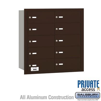 4B+ Horizontal Mailbox - 10 B Doors - Bronze - Rear Loading - Private Access