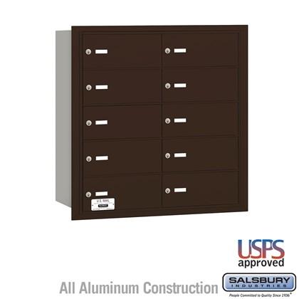 4B+ Horizontal Mailbox - 10 B Doors - Bronze - Rear Loading - USPS Access