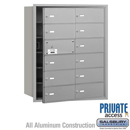 4B+ Horizontal Mailbox (Includes Master Commercial Lock) - 6 Door High Unit - 12 B Doors (11 usable) - Front Loading - Private Access