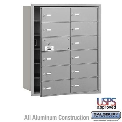4B+ Horizontal Mailbox - 6 Door High Unit - 12 B Doors (11 usable) - Front Loading - USPS Access