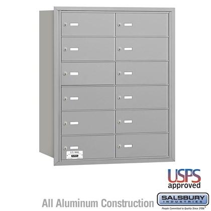 4B+ Horizontal Mailbox - 12 B Doors - Aluminum - Rear Loading - USPS Access