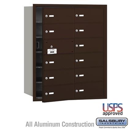 4B+ Horizontal Mailbox - 12 B Doors (11 usable) - Bronze - Front Loading - USPS Access