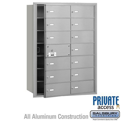 4B+ Horizontal Mailbox (Includes Master Commercial Lock) - 7 Door High Unit - 14 B Doors (13 usable) - Front Loading - Private Access