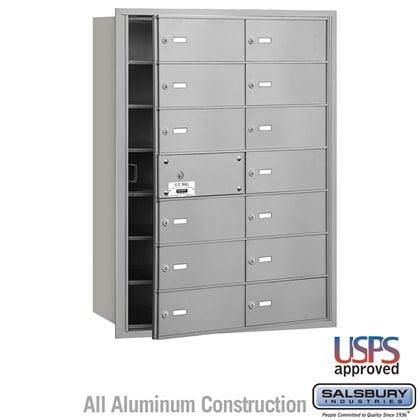 4B+ Horizontal Mailbox - 7 Door High Unit - 14 B Doors (13 usable) - Front Loading - USPS Access