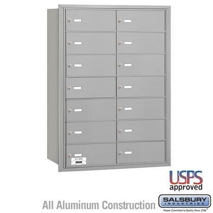 4B+ Horizontal Mailbox - 7 Door High Unit - 14 B Doors - Rear Loading - USPS Access