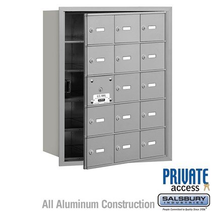 4B+ Horizontal Mailbox (Includes Master Commercial Lock) - 5 Door High Unit - 15 A Doors (14 usable) - Front Loading - Private Access