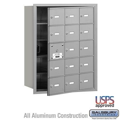 4B+ Horizontal Mailbox - 5 Door High Unit - 15 A Doors (14 usable) - Front Loading - USPS Access