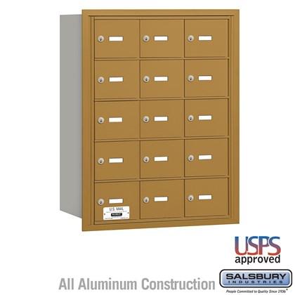 4B+ Horizontal Mailbox - 15 A Doors - Gold - Rear Loading - USPS Access