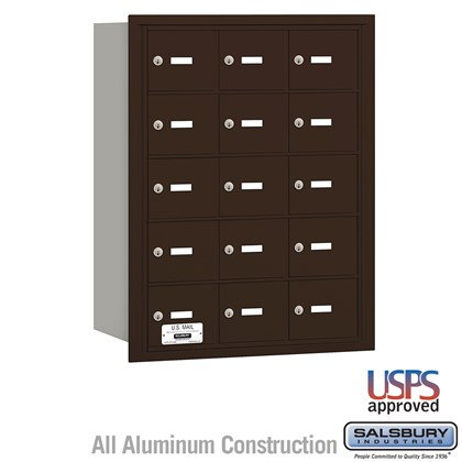 4B+ Horizontal Mailbox - 15 A Doors - Bronze - Rear Loading - USPS Access