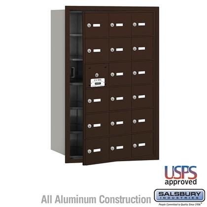 4B+ Horizontal Mailbox - 18 A Doors (17 usable) - Bronze - Front Loading - USPS Access