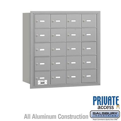 4B+ Horizontal Mailbox - 5 Door High Unit - 20 A Doors - Rear Loading - Private Access