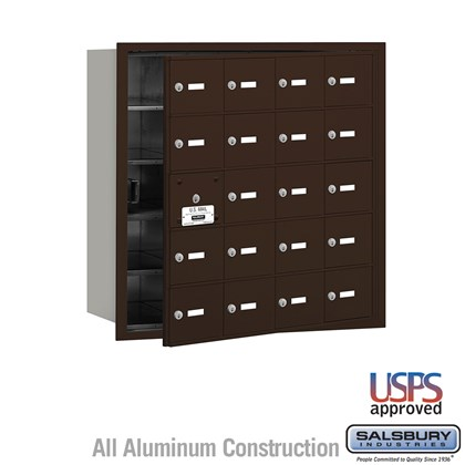4B+ Horizontal Mailbox - 20 A Doors (19 usable) - Bronze - Front Loading - USPS Access