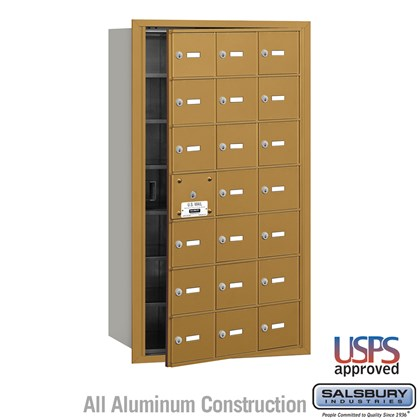 4B+ Horizontal Mailbox - 21 A Doors (20 usable) - Gold - Front Loading - USPS Access