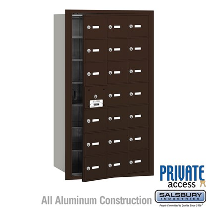 4B+ Horizontal Mailbox (Includes Master Commercial Lock) - 21 A Doors (20 usable) - Bronze - Front Loading - Private Access