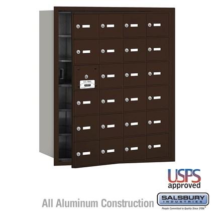 4B+ Horizontal Mailbox - 24 A Doors (23 usable) - Bronze - Front Loading - USPS Access