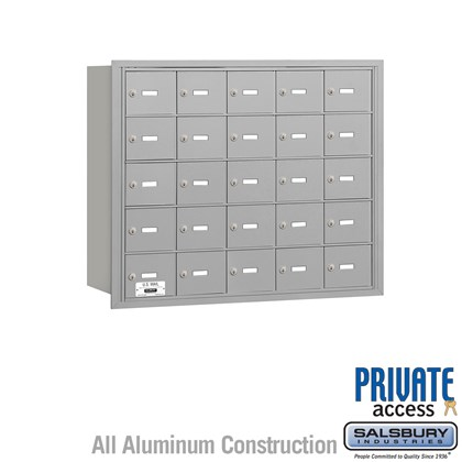 4B+ Horizontal Mailbox - 5 Door High Unit - 25 A Doors - Rear Loading - Private Access