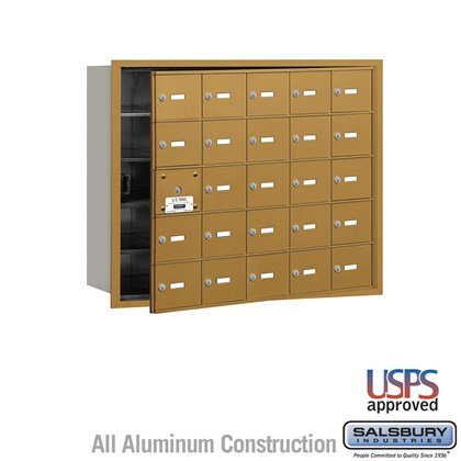4B+ Horizontal Mailbox - 25 A Doors (24 usable) - Gold - Front Loading - USPS Access