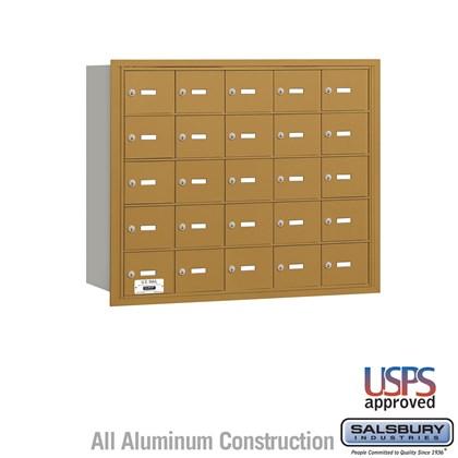 4B+ Horizontal Mailbox - 25 A Doors - Gold - Rear Loading - USPS Access