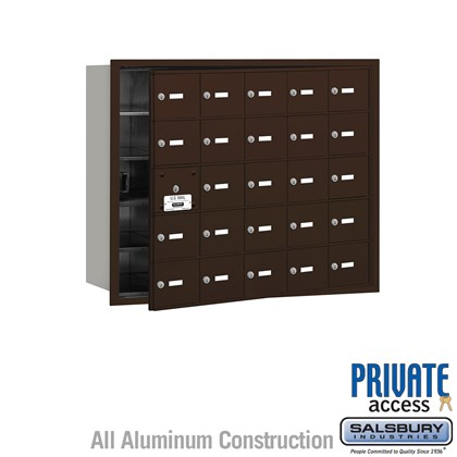 4B+ Horizontal Mailbox (Includes Master Commercial Lock) - 25 A Doors (24 usable) - Bronze - Front Loading - Private Access