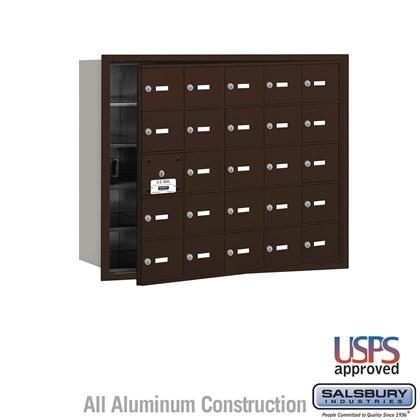 4B+ Horizontal Mailbox - 25 A Doors (24 usable) - Bronze - Front Loading - USPS Access