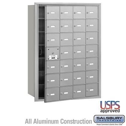 4B+ Horizontal Mailbox - 7 Door High Unit - 28 A Doors (27 usable) - Front Loading - USPS Access