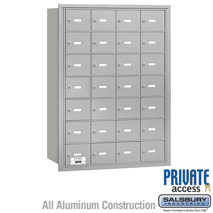 4B+ Horizontal Mailbox - 7 Door High Unit - 28 A Doors - Rear Loading - Private Access