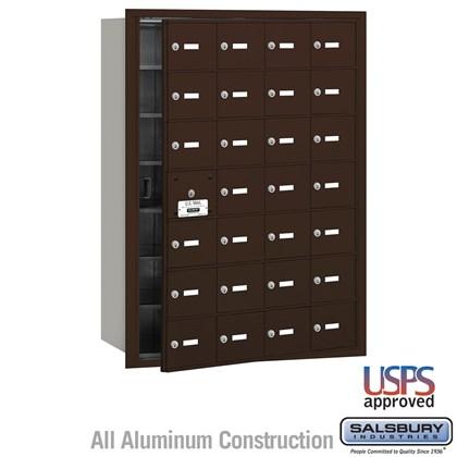4B+ Horizontal Mailbox - 28 A Doors (27 usable) - Bronze - Front Loading - USPS Access