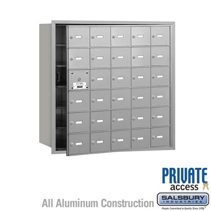 4B+ Horizontal Mailbox (Includes Master Commercial Lock) - 6 Door High Unit - 30 A Doors (29 usable) - Front Loading - Private Access