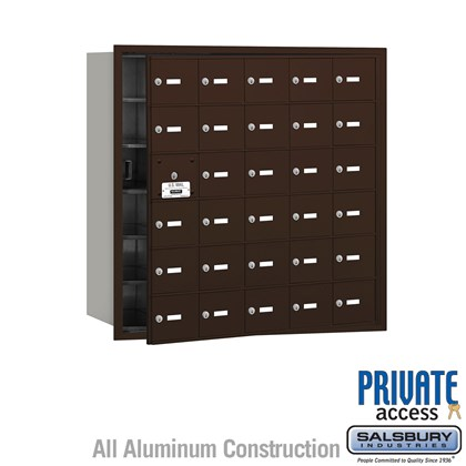 4B+ Horizontal Mailbox (Includes Master Commercial Lock) - 30 A Doors (29 usable) - Bronze - Front Loading - Private Access