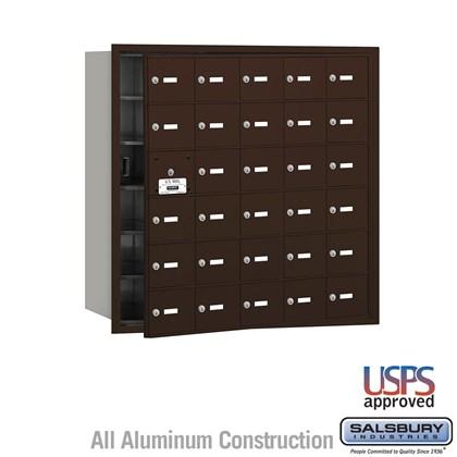 4B+ Horizontal Mailbox - 30 A Doors (29 usable) - Bronze - Front Loading - USPS Access