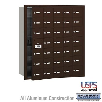 4B+ Horizontal Mailbox - 35 A Doors (34 usable) - Bronze - Front Loading - USPS Access