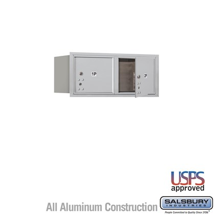 Recessed Mounted 4C Horizontal Mailbox - 3 Door High Unit (13 Inches) - Double Column - Stand-Alone Parcel Locker - 2 PL3's - Aluminum - Front Loading - USPS Access