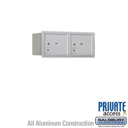 Recessed Mounted 4C Horizontal Mailbox (Includes Master Commercial Locks) - 3 Door High Unit (13 Inches) - Double Column - Stand-Alone Parcel Locker - 2 PL3's - Rear Loading - Private Access