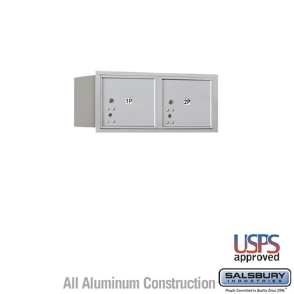 Recessed Mounted 4C Horizontal Mailbox - 3 Door High Unit (13 Inches) - Double Column - Stand-Alone Parcel Locker - 2 PL3's - Aluminum - Rear Loading - USPS Access
