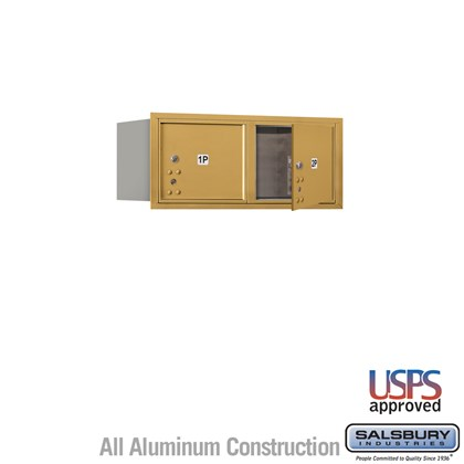 Recessed Mounted 4C Horizontal Mailbox - 3 Door High Unit (13 Inches) - Double Column - Stand-Alone Parcel Locker - 2 PL3's - Gold - Front Loading - USPS Access
