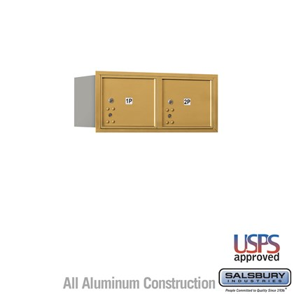 Recessed Mounted 4C Horizontal Mailbox - 3 Door High Unit (13 Inches) - Double Column - Stand-Alone Parcel Locker - 2 PL3's - Gold - Rear Loading - USPS Access