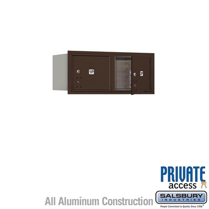 Recessed Mounted 4C Horizontal Mailbox (Includes Master Commercial Locks) - 3 Door High Unit (13 Inches) - Double Column - Stand-Alone Parcel Locker - 2 PL3's - Bronze - Front Loading - Private Access