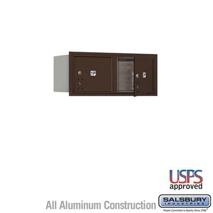 Recessed Mounted 4C Horizontal Mailbox - 3 Door High Unit (13 Inches) - Double Column - Stand-Alone Parcel Locker - 2 PL3's - Bronze - Front Loading - USPS Access