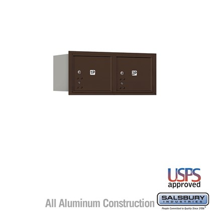 Recessed Mounted 4C Horizontal Mailbox - 3 Door High Unit (13 Inches) - Double Column - Stand-Alone Parcel Locker - 2 PL3's - Bronze - Rear Loading - USPS Access