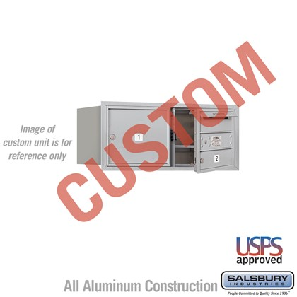Custom Recessed Mounted 4C Horizontal Mailbox - 3 Door High Unit (13 Inches) - Double Column - Custom - Front Loading - USPS Access