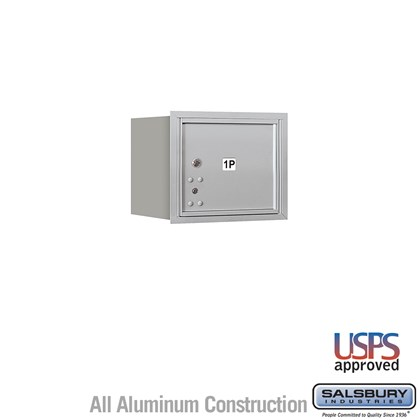 Recessed Mounted 4C Horizontal Mailbox - 3 Door High Unit (13 Inches) - Single Column - Stand-Alone Parcel Locker - 1 PL3 - Aluminum - Rear Loading - USPS Access