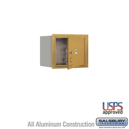 Recessed Mounted 4C Horizontal Mailbox - 3 Door High Unit (13 Inches) - Single Column - Stand-Alone Parcel Locker - 1 PL3 - Gold - Front Loading - USPS Access