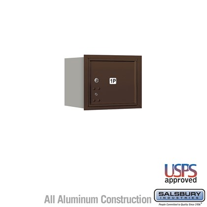 Recessed Mounted 4C Horizontal Mailbox - 3 Door High Unit (13 Inches) - Single Column - Stand-Alone Parcel Locker - 1 PL3 - Bronze - Rear Loading - USPS Access
