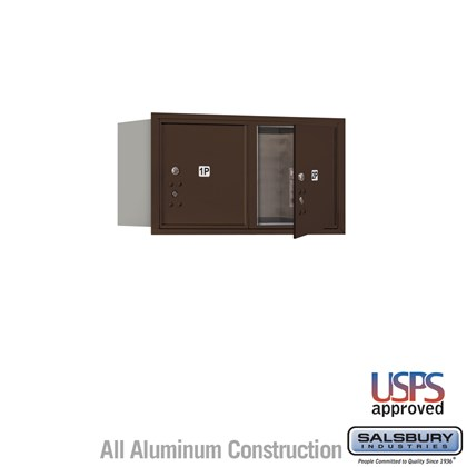 Recessed Mounted 4C Horizontal Mailbox - 4 Door High Unit (16 1/2 Inches) - Double Column - Stand-Alone Parcel Locker - 2 PL4's - Bronze - Front Loading - USPS Access